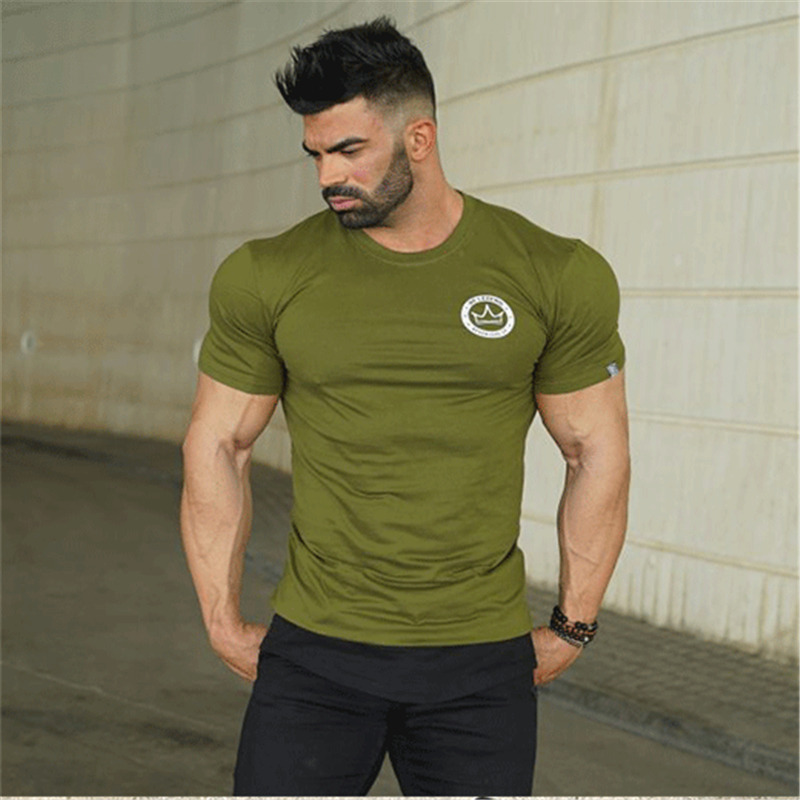 HTB1kli6p79WBuNjSspeq6yz5VXaC 2019 new gym breathable men's muscle fitness short sleeve training bodybuilding fitness cotton sportswear T shirt clothes