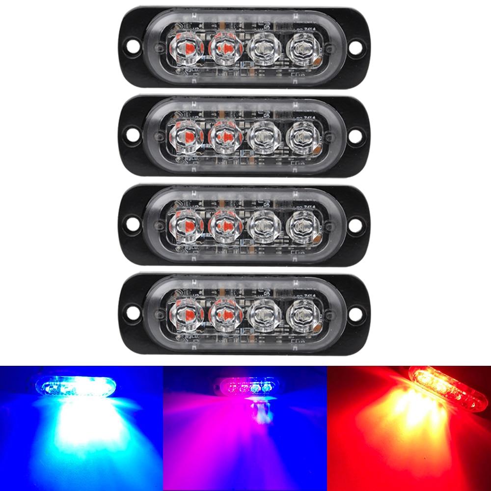 4LED Ultra-thin Strobe Light 12-24V Car Motorcycle Side Light Red Blue White Amber Truck Warning Strobe Police Light