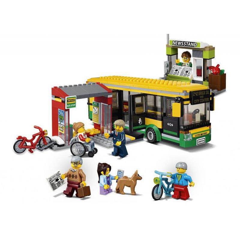 LEPIN 02078 City Bus Station Figure Blocks Compatible Legoe 60154 Educational Construction Building Toys For Children waz compatible legoe city lepin 2017 02022 1080pcs city 50th anniversary town figure building blocks bricks toys for children
