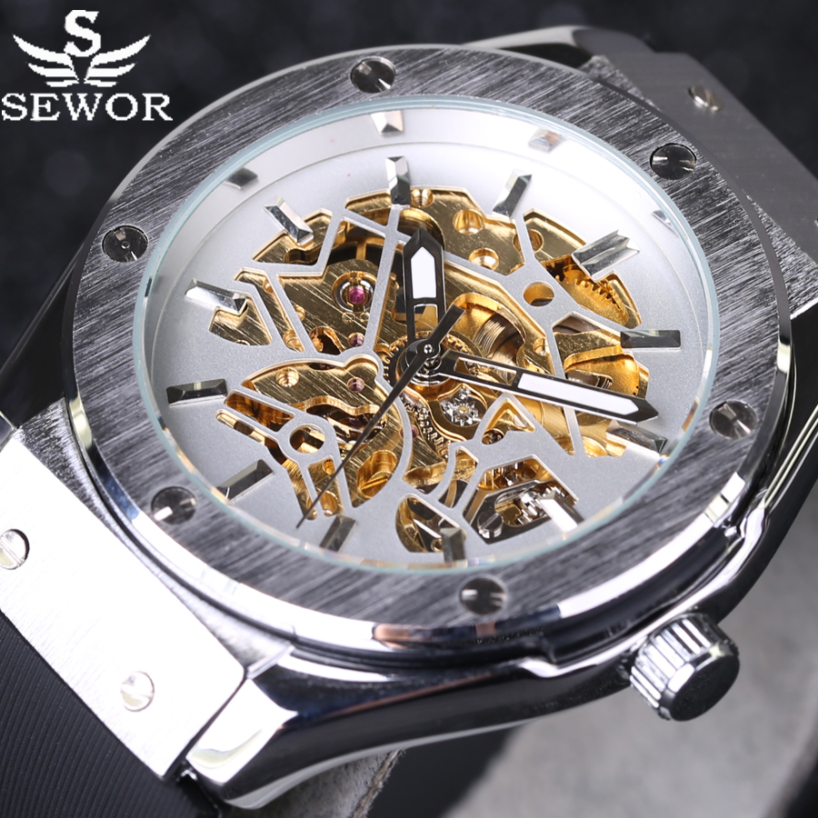 2016 New SEWOR Automatic Mechanical Men Watches Casual Rubber Strap Luxury Male Watch sports Relojes hombre