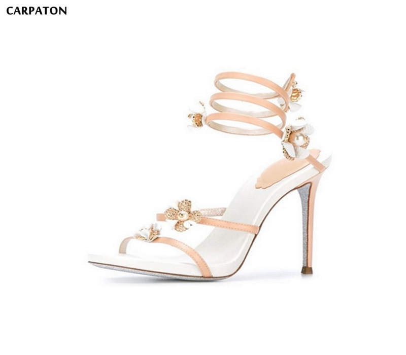 Carpaton Fashion Snake Pattern Crystal Embellished Sandal For Woman 2018 Summer Flower Decoraitons High Heel Gladiator Sandal Demand Exceeding Supply High Heels