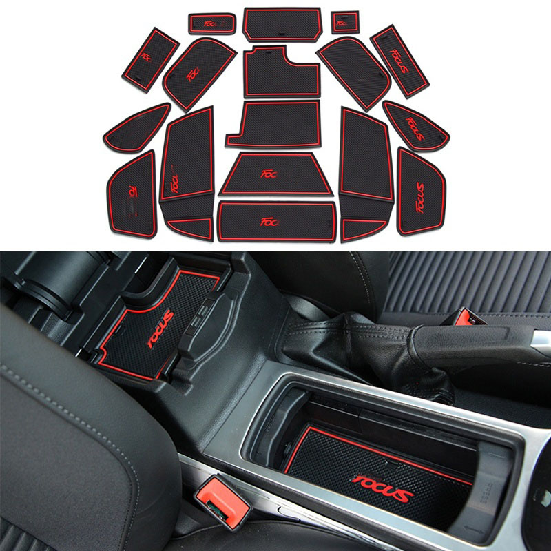 17 pcs sport style gate slot pad rubber car-cup Interior cup cushion Door Mat Cup stickers covers For Ford Focus 2015 2016 2017