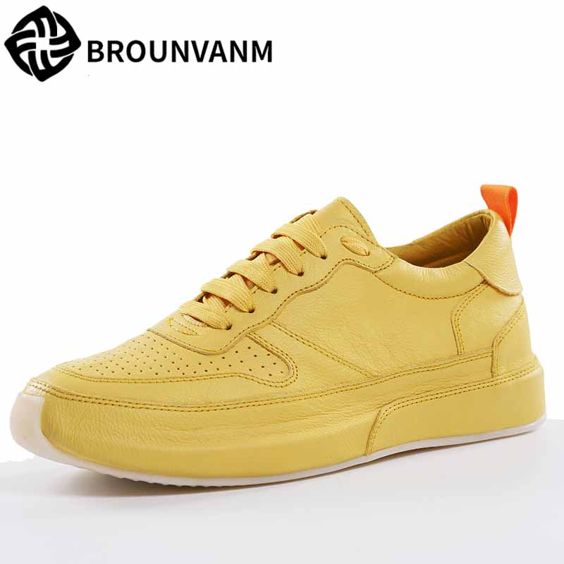 spring autumn summer men's casual shoes British all match cowhide breathable sneaker fashion men Leisure shoes Genuine Leather