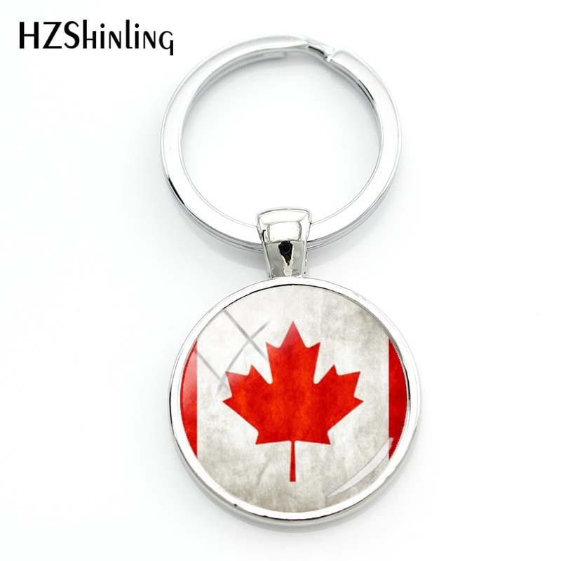 2018 Fashion Canadian Flag Key Chain Women Hot Czech Republic Flag Glass Cabochon Keychain Iceland Flag Pic