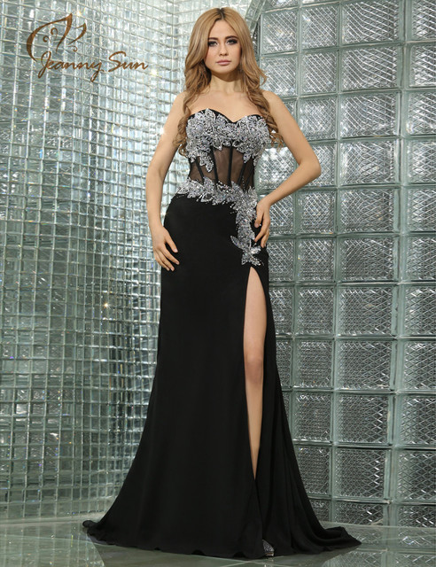 Black Long Prom Dress with Silver Sequins Sweetheart Slit Side Proms ...
