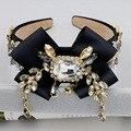 DG de moda Para Mujer Bowknot de La Cinta de Ancho Negro Barroco Joyería Tiara de La Corona de Accesorios de Cristal Venda de La Flor de La Boda de dama de Honor