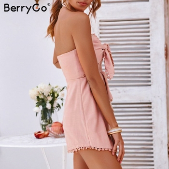 BerryGo Sexy Strapless Cross Tie Embroidery Jumpsuit 1