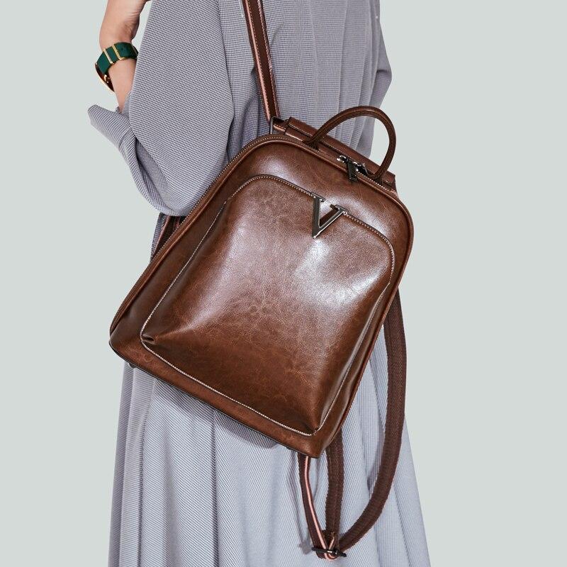 Vintage mode Split cuir sac à dos femme élégant fronde sac d'école collège lycée fille petit beau sac à dos Preppy