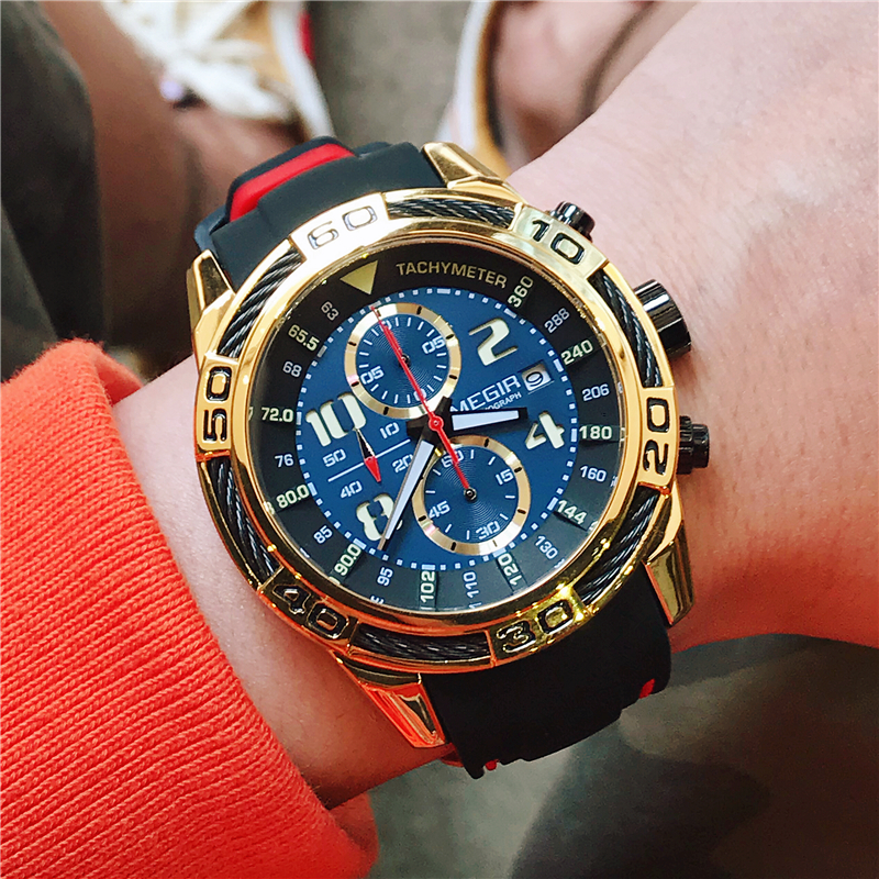 Megir Men's Chronograph Analog Quartz Watches Date Luminous Hands Waterproof Silicone Strap Army Military Wrist Watch for Man kaladia 8911 pu strap analog quartz sport wrist watch for man