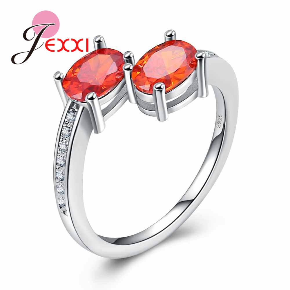 NEW Fashion Jewelry Two Stone Orange Crystal 925 Sterling Silver Rings For Girl Friend Birthday Gifts image