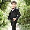 5pcs Set Boys Blazer Suits Kid Boy Wedding Suits Black Blue And Red Blazer Dress Costume