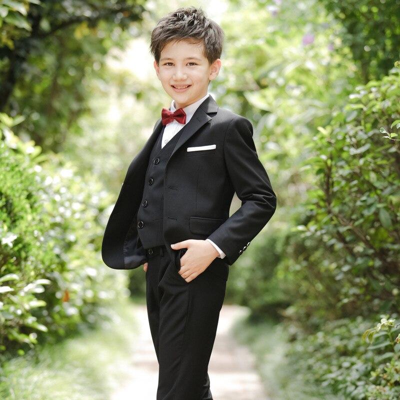 5 pièces/ensemble garçon Blazer costumes enfant garçon mariage costumes noir bleu et rouge Blazer robe Costume Garcon formel Blazer costumes
