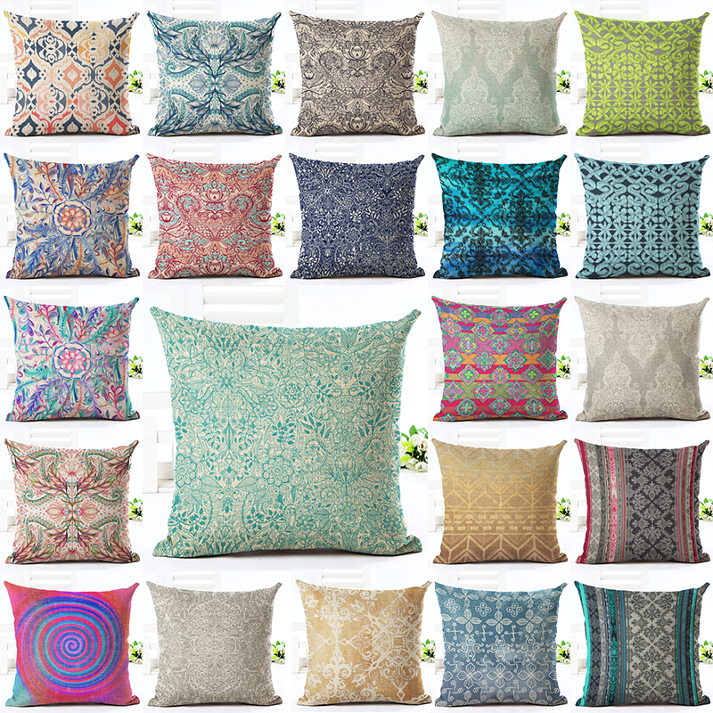 2016 New Home Decor Cushion Cover Bohemian Style Car Home Decorative Floral Printed Throw Pillowcase Cojines Almofada