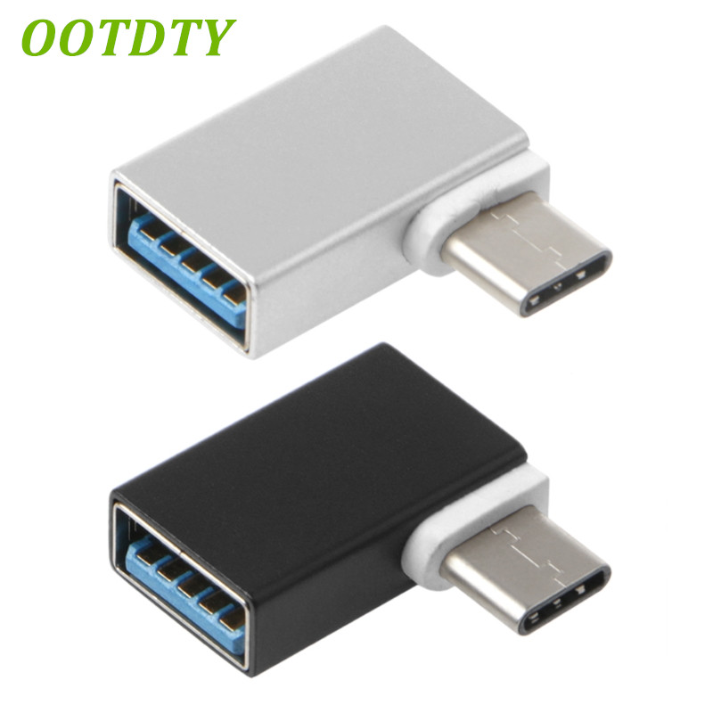90 Degree Type C To USB 3.0 Female Data OTG Converter For Macbook Android Phone
