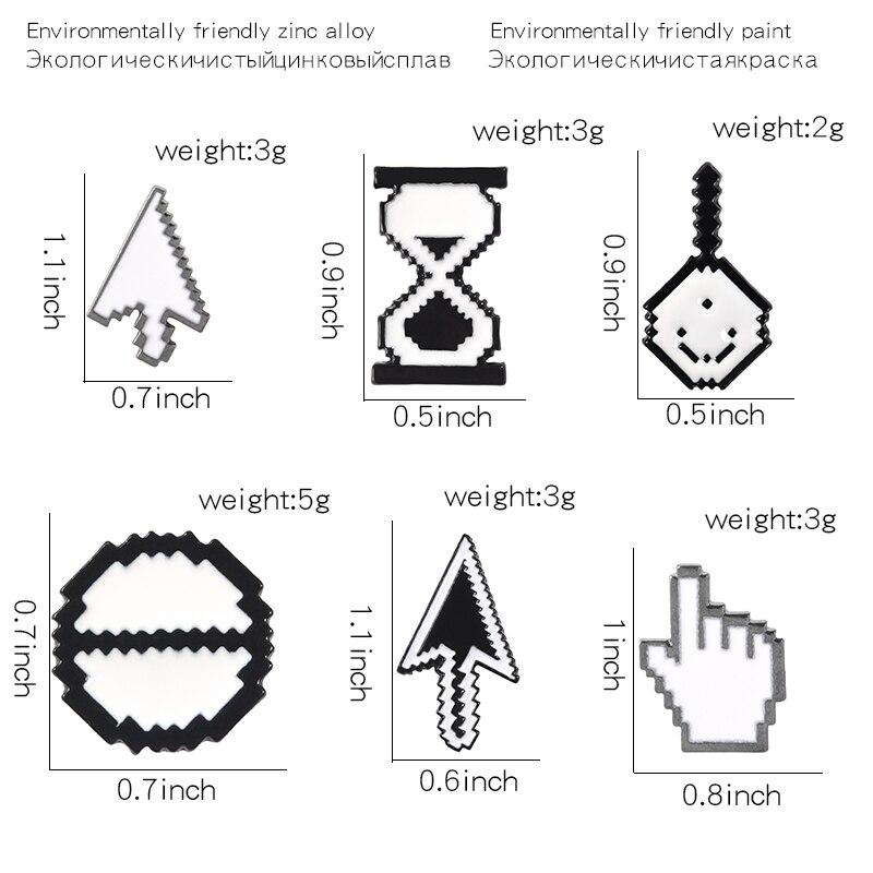 Mouse-Cursor-Brooch-Click-Icon-Arrow-Magnifier-Hand-Hourglass-Cursor-Enamel-Pins-Shirt-Backpack-Badges-Lapel