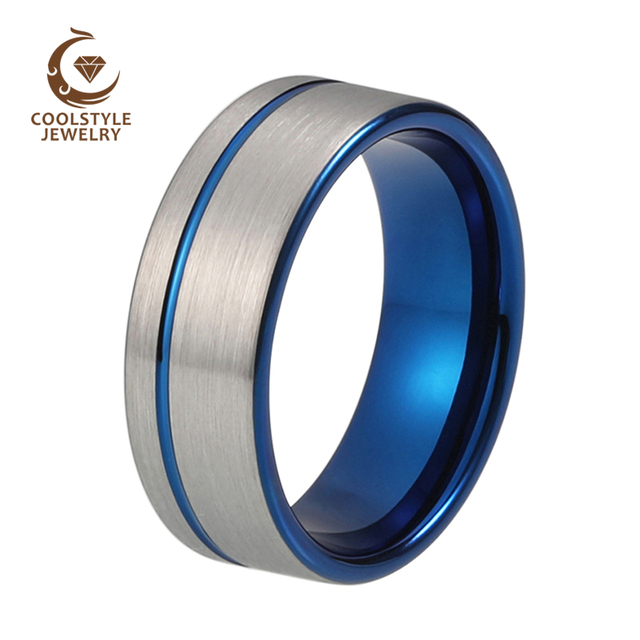ae65bd52c57 Tungsten Wedding Band Ring 8mm for Men Women Blue Plated Offset Line Flat  Silver Brushed Top Comfort Fit