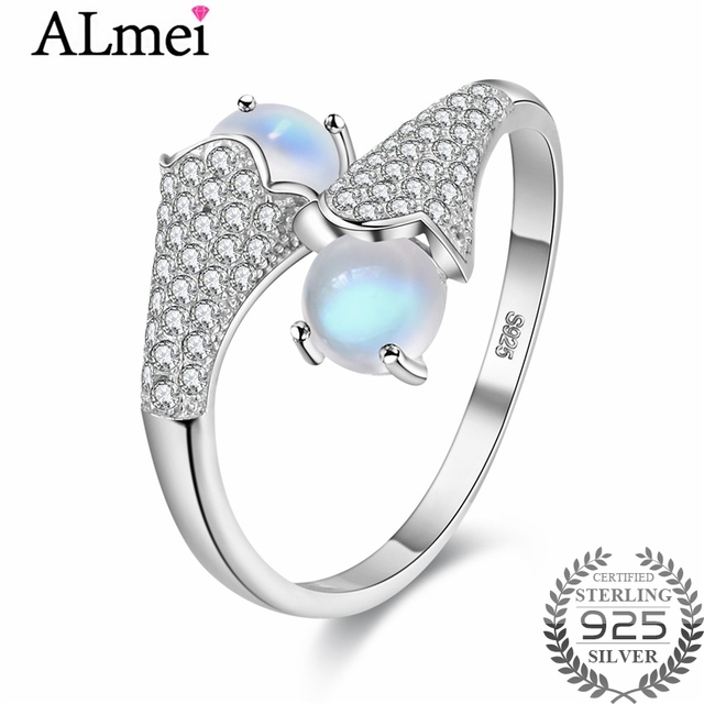 almei 06ct moonstone wedding bridal ring 925 sterling silver costume jewelry decoration for women resizable - Moonstone Wedding Ring