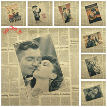 Gone with the wind Classic Movie Kraft Paper Poster Bar Cafe Living Room Dining room Wall Decorative Paintings