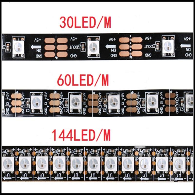 все цены на DC5V 1m/3M/4m/5m WS2812B Smart led pixel strip Black/White FPCB 30/60/144 leds/m WS2812 IC IP30/IP65/IP67 waterproof tape light