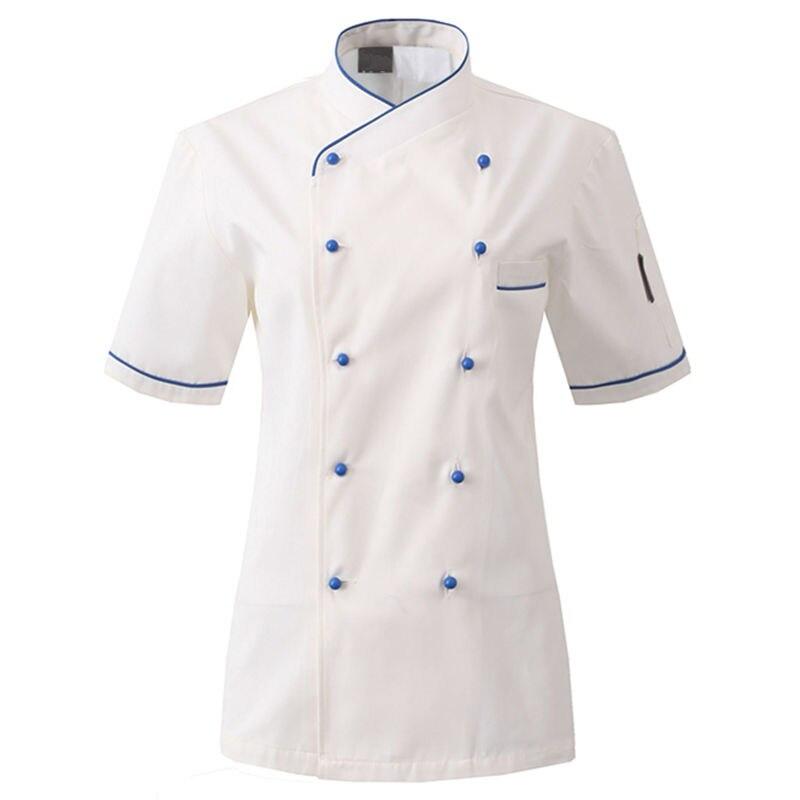 White Poly Cotton Short Sleeve Shirt Hotel Restaurant Professional Chef Uniform Bistro Diner Kitchen Staff Cook Work Wear B71