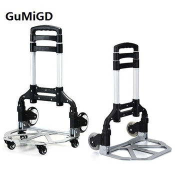 Aluminum alloy trolley, portable folding luggage cart, small trailer, hand cart, shopping cart, cart pull goods Three section te