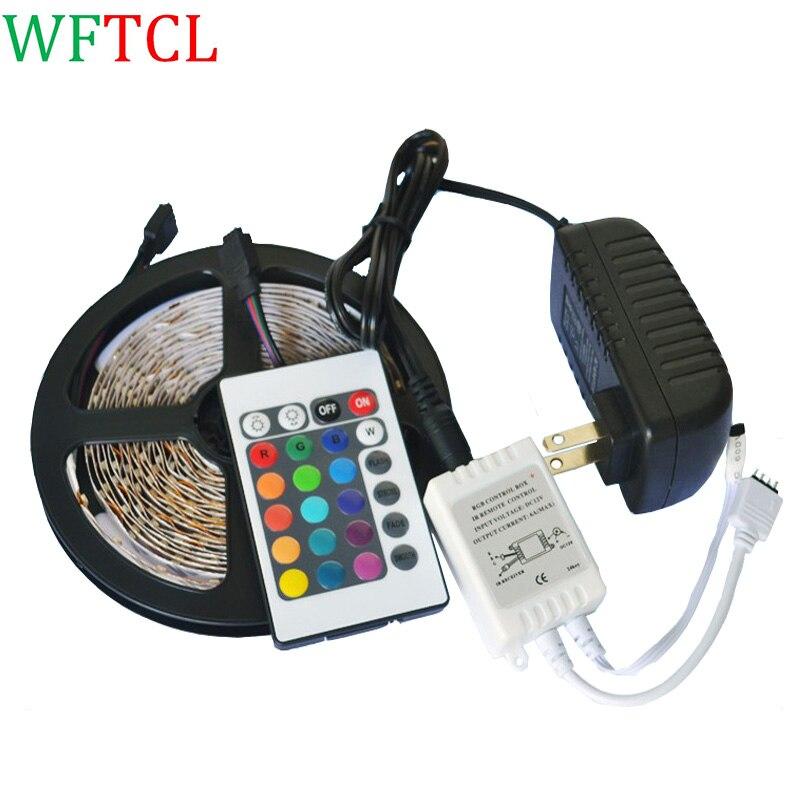 WFTCL Kit De Cinta Led 3528 Rollo 5m Multicolor Control 12v LED strip lights kit LED tape 3528 RGB + controller + power adapter