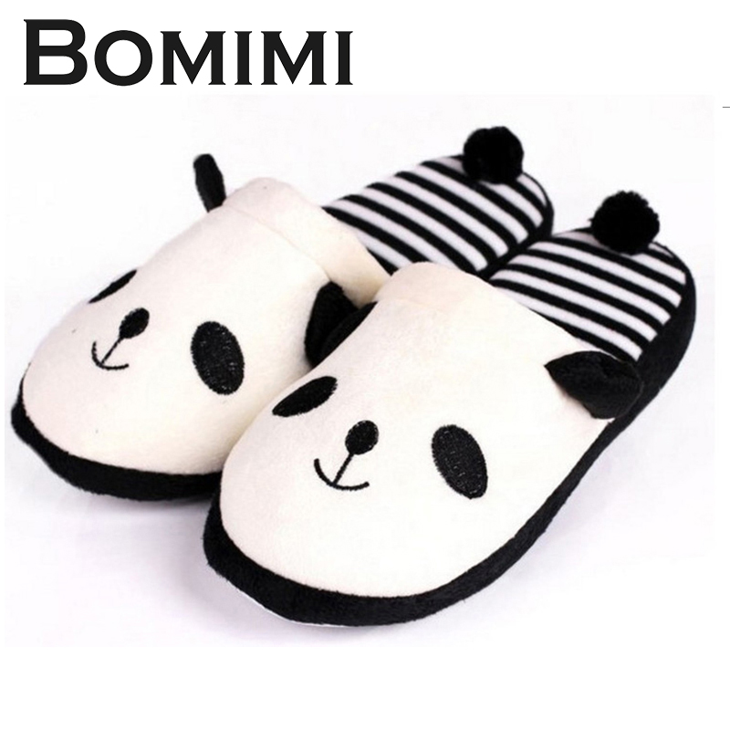 BOMIMI Cute Cartoon Panda Home Slippers Super Warm Plush Slippers Cotton Women Slippers Ladies Flip Flop stylish women s slippers with flip flop and rhinestones design
