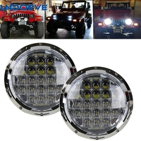 130W Philip 5D Lens LED Headlights Bulb Halo DRL For Jeep Wrangler JK TJ LJ CJ
