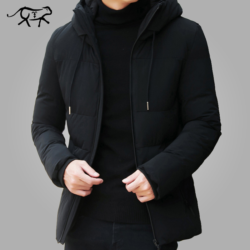 Jacket Men Hooded-Collar Winter Coat Warm Fashion Outerwear 4XL Casual Slim-Fit