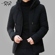 Marque hiver veste hommes vêtements 2018 Casual Stand col à capuche col  mode hiver manteau hommes Parka survêtement chaud Slim f. 473e3d0efbf