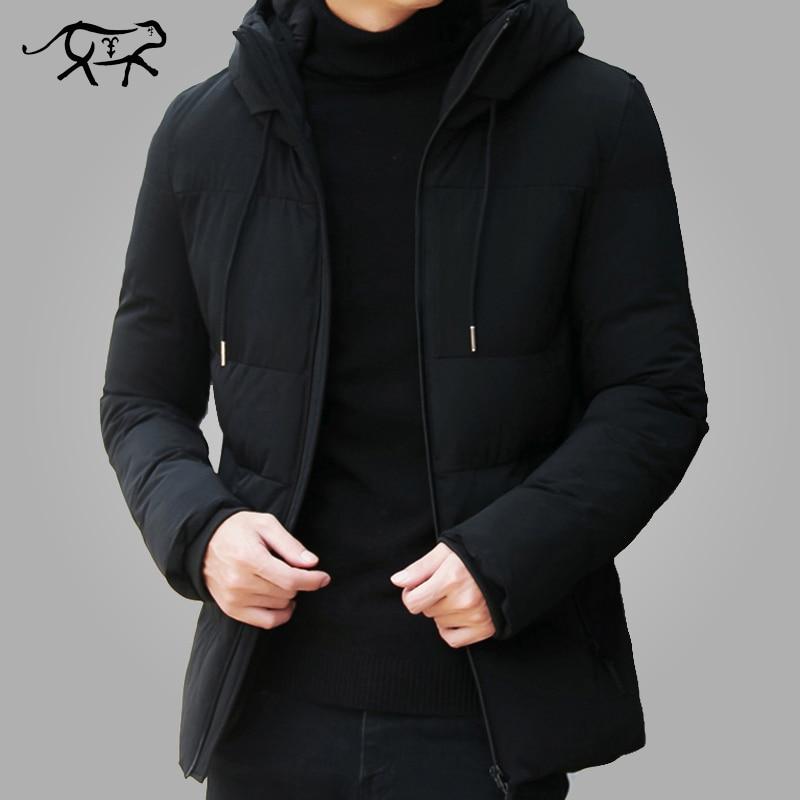Marque hiver veste hommes vêtements 2018 décontracté col montant à capuche col mode hiver manteau hommes parka chaud Slim fit 4XL