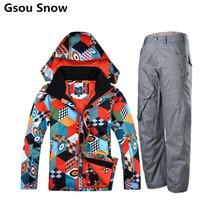 Gsou Snow winter ski jacket snowboard skiing jacket men snow pants chaqueta esqui hombre veste ski clothing mountain skiwear