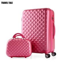 Travel tale для девочек милый набор багажных чемоданов на колесиках ABS жесткие стороны, дешево, масштабных дорожных чемоданов сумка на колесе
