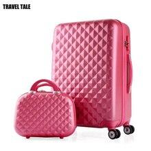 Set à bagages avec chariot pour filles, conte de voyage, ABS rigide, valise de voyage sac sur roues