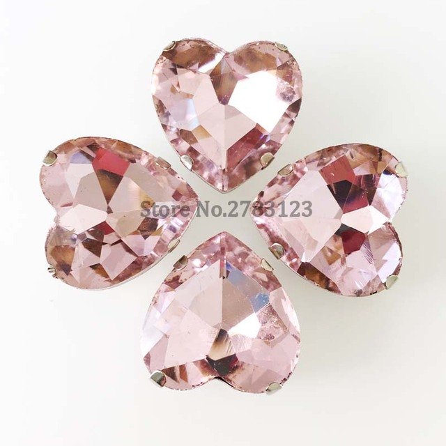 Free shipping! Heart shape pink color Glass Crystal flatback loose  rhinestones 04a0a87ffc00