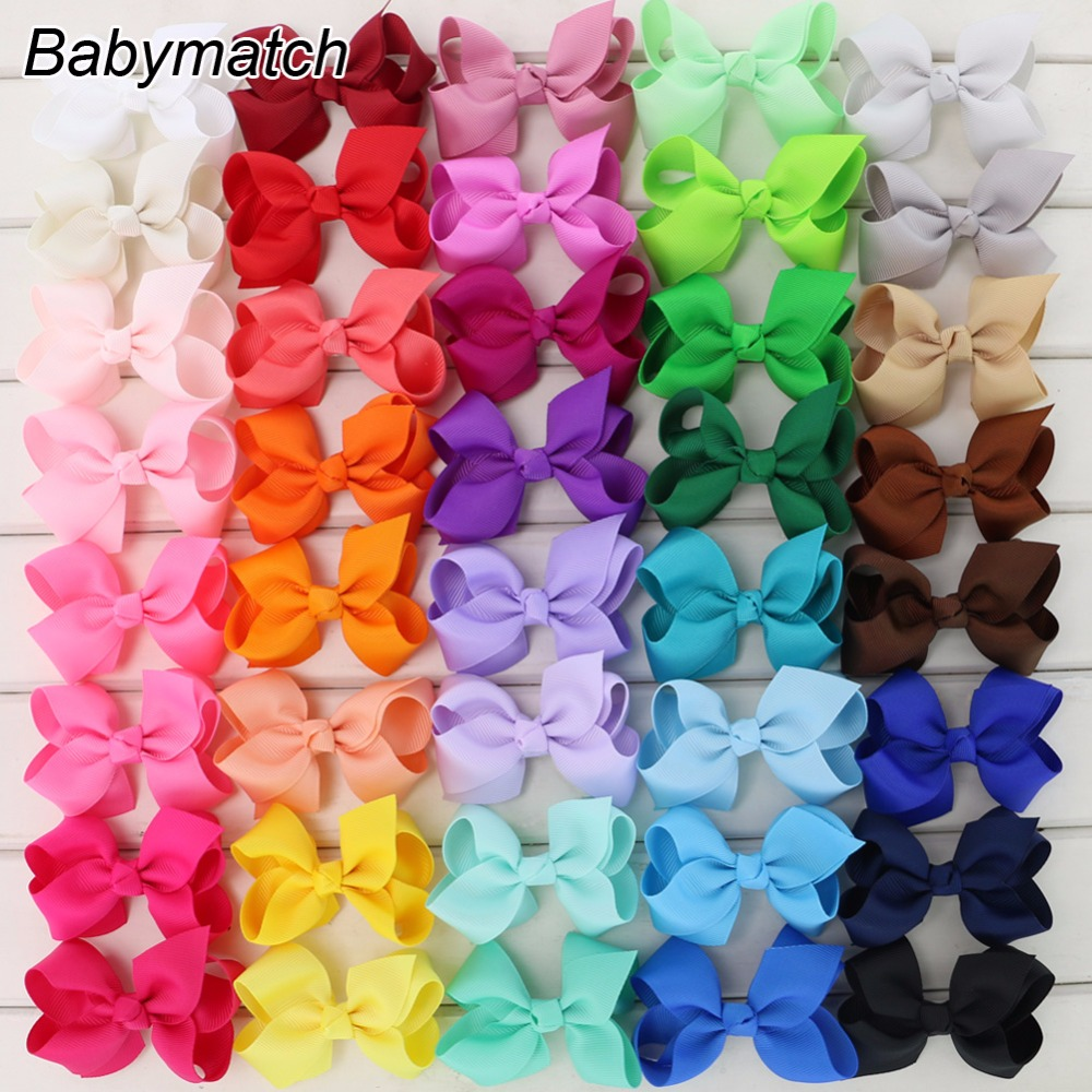Babymatch 40pcs/lot 3.3'' Hair Bows Grosgrain Ribbon bow WITH Alligator Hair Clips Boutique Bows Hair Accessories 2542 3 5 inch grosgrain ribbon hair bow diy children hair accessories baby hairbow girl hair bows without clip 16pcs lot