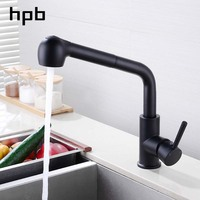 HPB Pull out Kitchen Faucet Black Lacquered Brass Water Tap Kitchen Faucet Handle Single Holder Single Hole Mixer Tap HP4102b