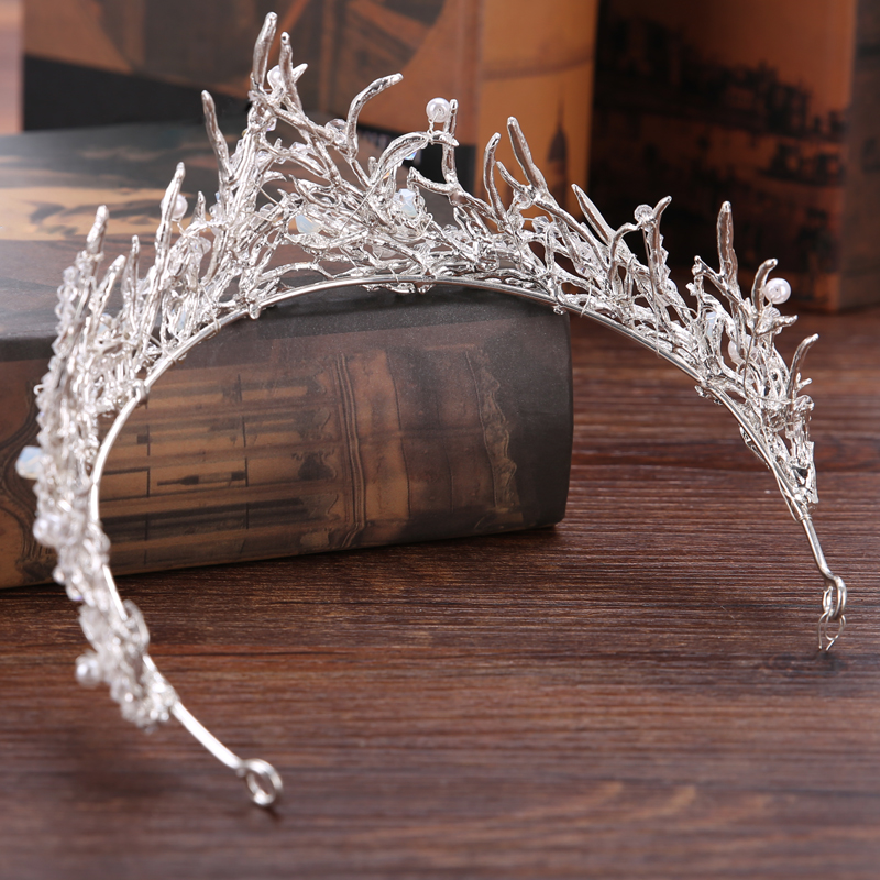 FORSEVEN Crown Bridal Hair Accessory Wedding Rhinestone Waterdrop Leaf Tiara Crown Headband Frontlet Hair Jewelry 9