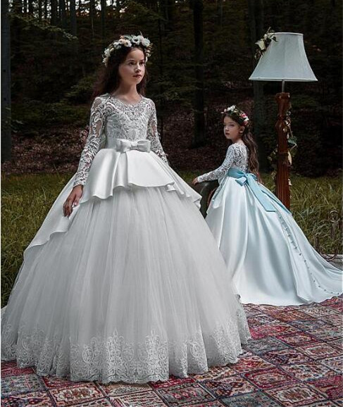 Fabulous White Ivory Long Sleeves Ball Gown Flower Girl Dresses With Beaded Lace Appliques Belt First Communion Gown Any Size beaded blings appliques lace baby girl white ivory first communion dresses christening gown baptism dress