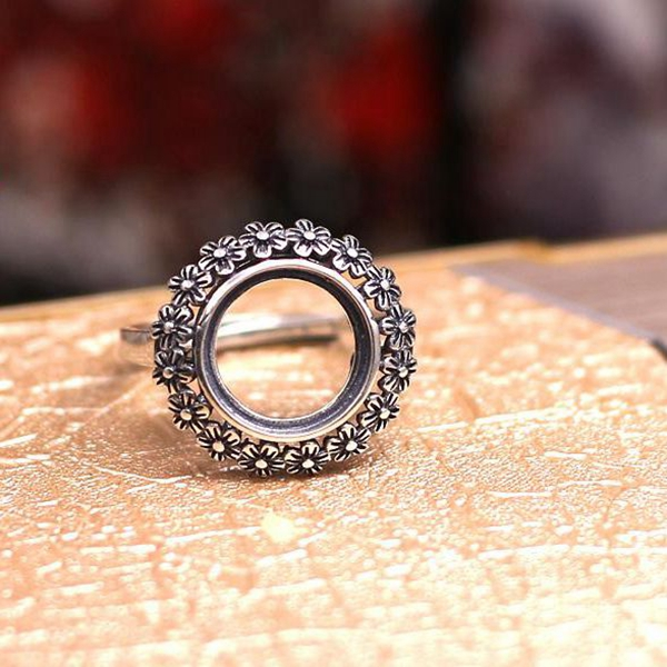 Art Nouveau 11MM Round Cabochon Semi Mount Ring Flower 925 Sterling Silver Retro for Gemstone Fine Jewelry Setting Adjustable серьги art silver art silver ar004dwzmh30
