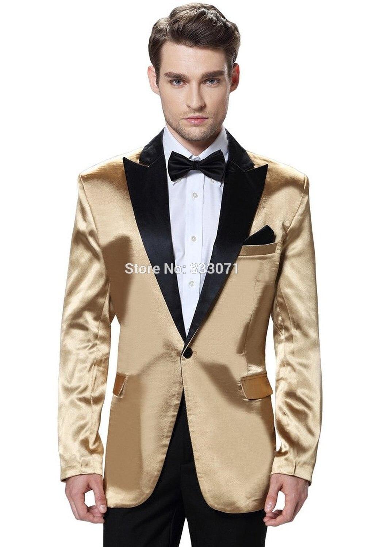 f47299882922 Custom Made Retro gentleman Men Suits Groom Tuxedos slim fit tailor Gold  Jacket Black pants Groomsmen Wedding Party Blazer-in Suits from Weddings &  Events ...