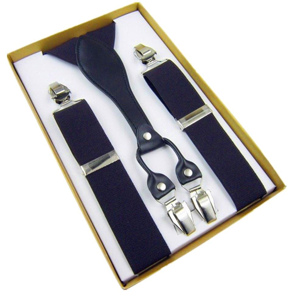 Mens Suspenders Leather Button End Elastic Tuxedo Y Back Suspenders Pant Braces For Men Tirantes Hombre Para Pantalones