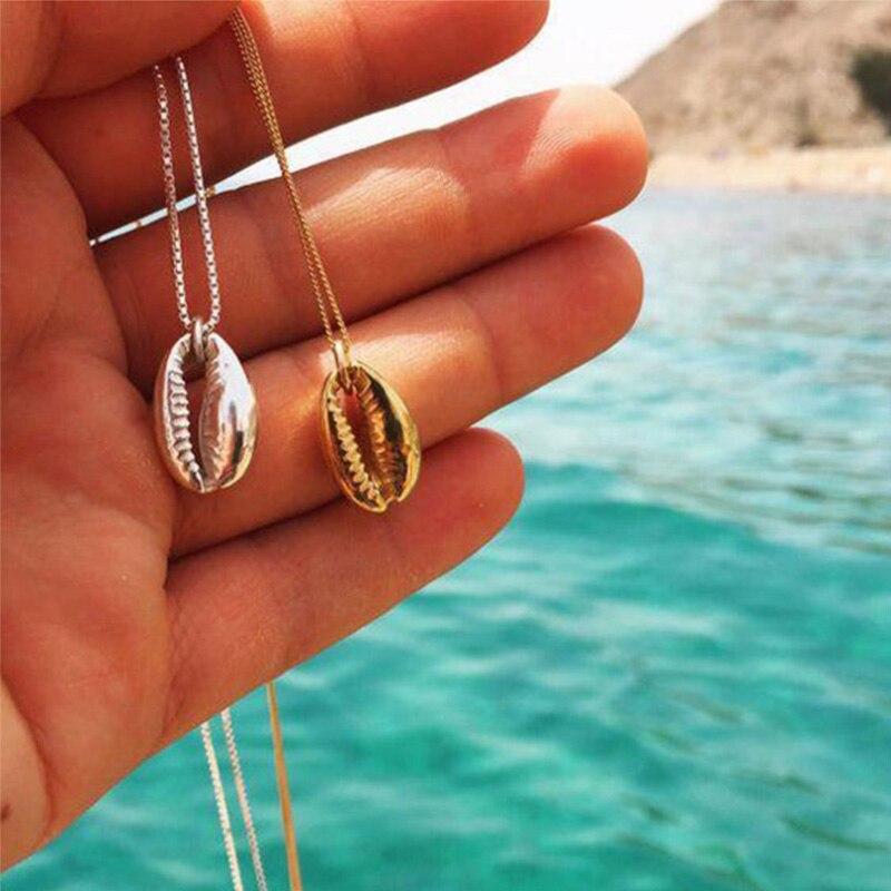 Boho Strand Zee Shell Porceleinslak Hanger Ketting Voor Vrouwen Fashion Ocean Gouden Ketting Kettingen Sieraden Geschenken Decor Accessaries Online Korting