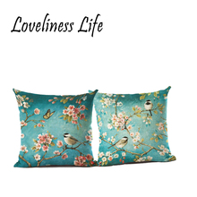 Birds Tree Printed Vintage Cotton Linen Cushion Cover Bed Pillowcases Chinese Throw Pillow Covers Decorations 45x 45cm Cojines