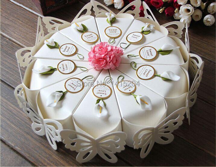 unids creativo dulce mariposa cajas del caramelo de la torta blanca flor etiquetas