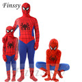 Anime Red Spiderman Costume for boys Spider man Cosplay Suit Halloween Costume for men Carnival Costume for kids Mask Gloves