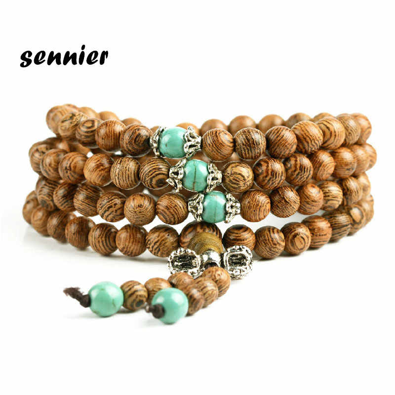 High quality 0.8cm*108 Wenge Prayer Beads Tibetan Buddhist Mala Buddha Bracelet Rosary Wooden Bnagles women man bracelets