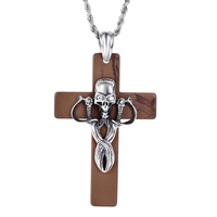 2 In 1 Jesus Cross Crucifix Pendant Necklace Men S Jewelry Stainless Steel And Resin Necklaces