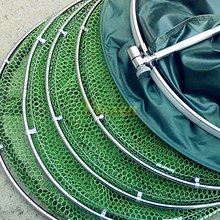 Vissen crab traps drying fishing net stainless steel double ring Anti-hanging Fishing net for fishing Metal Frame Nylon Mesh