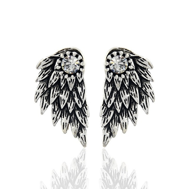 Gothic Silver Color Cool Angel Wings Alloy Stud Earrings Cool Black Feather Earrings for Women Men Fashion Jewelry 1